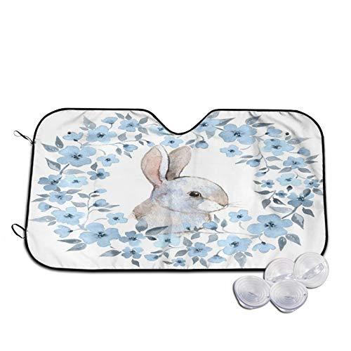 Parasol para Coche,Acuarela de Guirnalda Floral de Conejo Blanco,Parabrisas de prevención de Calor Parasol Protector de Visera de Rayos UV 51'X27.5'
