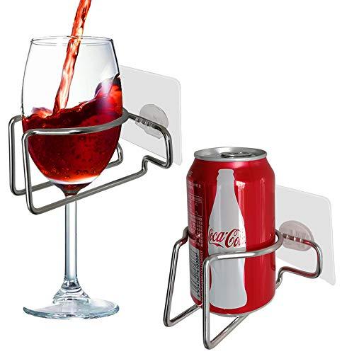 SYIDINZN Weinglashalter für Bier, Dusche, Badewanne, Getränke, Organizer, tragbar, Edelstahl, für Kaffee, Getränke, Entspannung (Silber)
