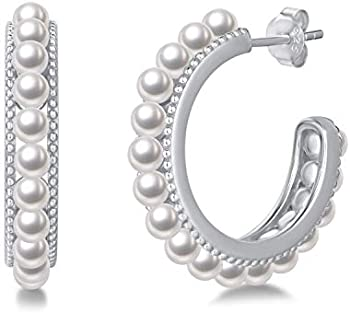 Fancime Pearls Sterling Silver Open Hoop Earrings