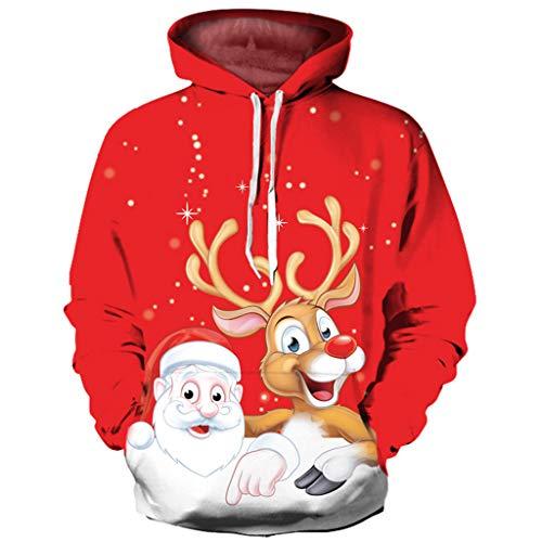 YXIU Herren Hoodie Kapuzenpullover, Damen 3D Weihnachtsdruck Langarm Sweatshirt Sportswear Jumper Pulli Kapuzenpulli Tops