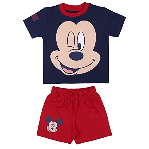 CERDÁ LIFES LITTLE MOMENTS Pijama Verano de Mickey Mouse de Color Azul-Licencia Oficial Disney Pyjama Bleu-Licence Officielle, Rojo, 4 años Garçon