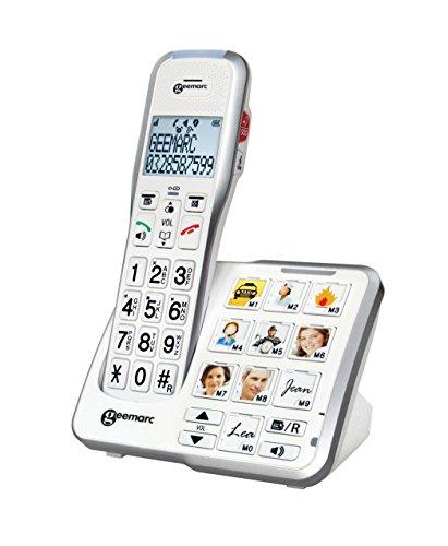 Geemarc AmpliDECT 595 schnurloses verstärktes 50 dB Schwerhörigentelefon mit Fototasten, Anrufbeantworter, Sprachansage und SOS Taste - Deutsche Version