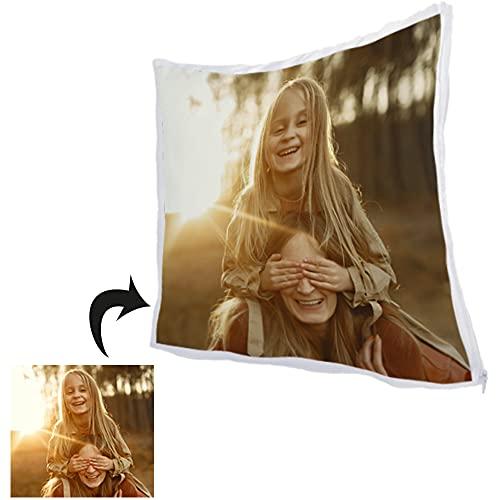 Cojin Personalizado con Foto 35 x 35 cm · Relleno Incluido · Ideal para Mujer · Personalizado con Foto · Color Blanco con Acabado en Brillo y Cierre de Cremallera Lateral