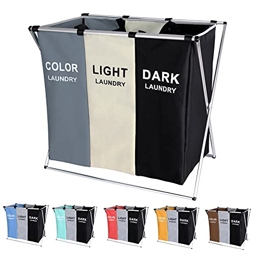 135L Laundry Cloth Hamper Sorter Basket Bin Foldable 3 Sections with Aluminum Frame 24'' × 14'' x 23'' Washing Storage Dirty Clothes Bag for Bathroom...