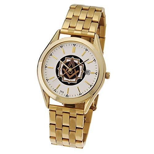 Men's Gold Plated TFX by Bulova Masonic Blue Lodge Watch w/Expansion Bracelet
