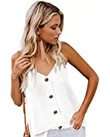 Staceyclo Women's V Neck Sleeveless Sexy Blouse Botton Down Tank Tops Casual Shirts White