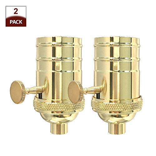 Royal Designs 3-Way Turn Knob Lamp Socket with a Solid Metal Cast Shell, E26 Medium Base, Polished Brass, Set of 2