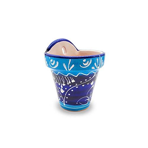 1 x Vaso per fiori da parete in ceramica dipinto a mano 'Mediterraneo'   Fioriera da giardino per esterni con foro per appendere e drenaggio   Fatto in Spagna   Ø 13 cm H 16 cm