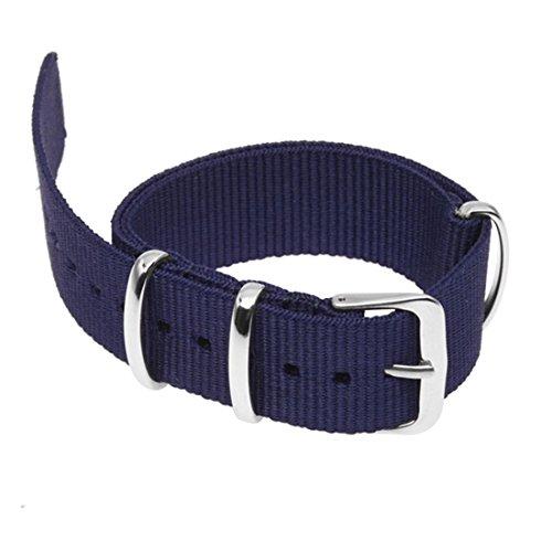 SODIAL(R) 18mm Banda de reloj de nylon Correa pulsera de cordon Correa de reloj Azul oscuro