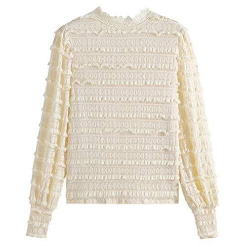 Feixunfan Camisa de gasa con diseño de Sense All Match Slim Slimming Fashion Lace Bottoming Camisa otoño e invierno temperamento blusa mujer para fiesta de trabajo (color albaricoque, talla: XXL)