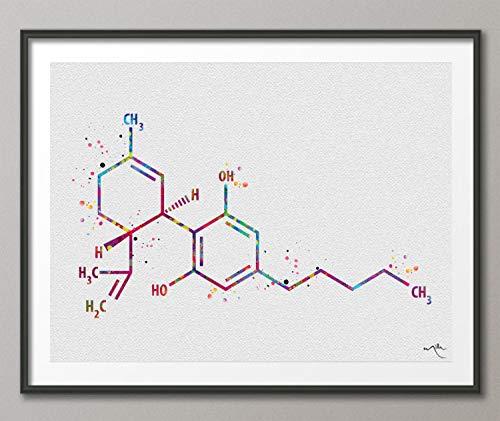 CBD Molekül Cannabidiol Aquarell Druck...