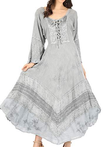 Sakkas 15223 - Abito con Maniche a Kimono Slavato in Stile Corsettato Ricamato Floreale Mirabel- Silver-L/XL