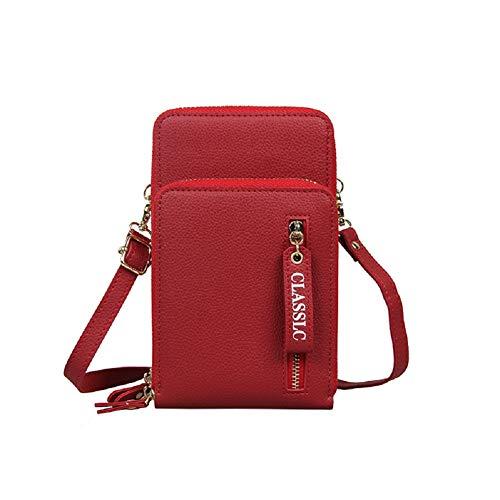 N&P Bolso Movil Mujer Bolso de Cuero para Teléfono Mini Pequeño Bolso Bandolera Cartera con Cremallera Monedero Billetera con Ranura para Tarjetas Correa de Hombro Ajustable - Rojo B