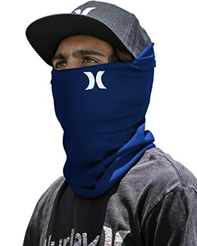 Hurley Multipurpose Neck Gaiter Face Mask with Moisture Wicking Technology, Coastal Blue, 1 Size