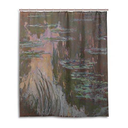 Ahomy Badezimmer-Duschvorhang Monet Art Seerosen-Sonne, langlebig, wasserdicht, dick, mit 12 Haken, 152,4 x 182,9 cm