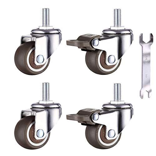 4 Klein Rollen für Möbel 38mm Weichgummi TPE M8x 20mm Gewinde Mini Rollen Möbelrollen (2 Stück mit Bremse) (38mm)