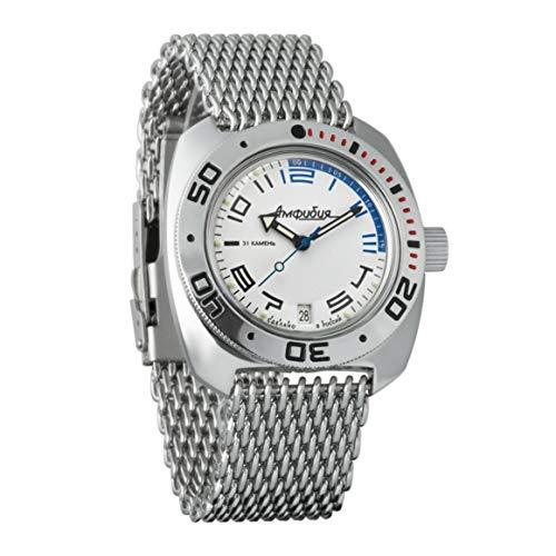 VOSTOK Amphibian 710473 - Reloj de Pulsera para Hombre (Correa de Malla de 200 m, diseño con Texto en inglés)