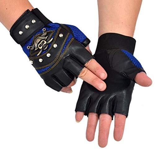 BMAKA PU-Leder-Punk Motorrad Fingerlose Handschuhe Halbe Finger mit Nieten Punk-Fahrrad-Fahrradhandschuhe für Halloween-Kostüme, Hip Hop, Performances, Partys