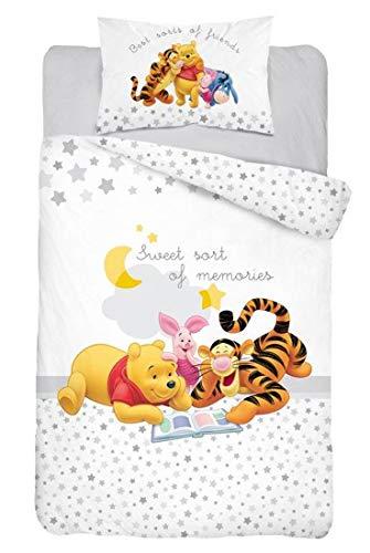 Baby Bettwäsche Set 2tlg. 100% Baumwolle Größe: 100x135 cm, 40x60 cm, ÖkoTex Standard 100 (Winnie Pooh Grau) (Stern Grau)