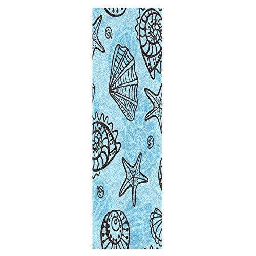 Lindas Conchas Marinas Estrella De Mar Azul Monopatín Papel de Lija Antideslizante Hoja Cinta de Agarre Lijas para Patineta Scooter Etiquetas engomadas (84 x 23 cm)
