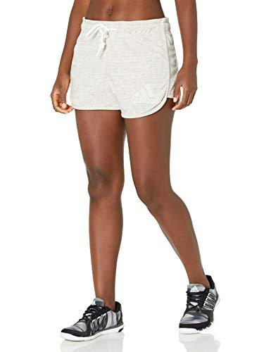adidas Must Haves Mélange - Pantalones cortos para mujer - GLE41, Must Haves Mélange - Pantalones cortos, S, Gris medio/Core Blanco