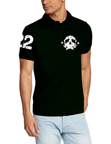 Coole Fun T-Shirts Skull 22 Poloshirt Deadhead Polo, Black, Grösse: XXL