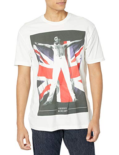 Men's Officially Licensed Freddie Mercury and Union Jack Flag T-shirt, S to XXL