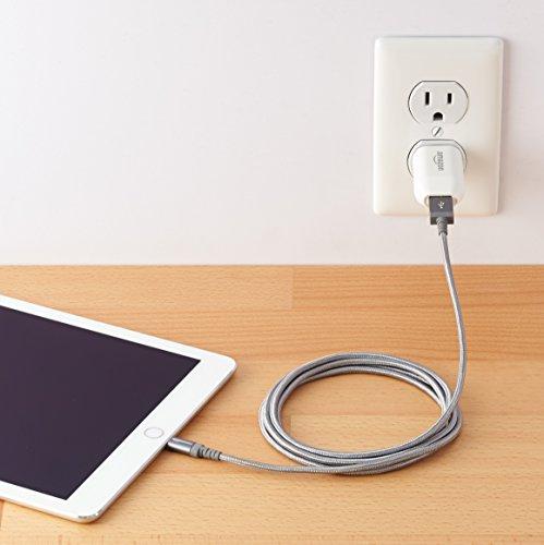 Amazon Basics Verbindungskabel Lightning-auf-USB-A, Nylon, geflochten, 1,8 m, zertifiziert von Apple, Dunkelgrau