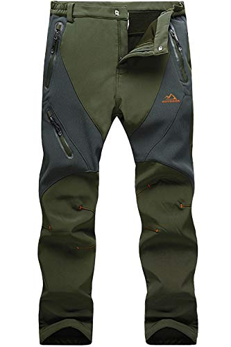 MAGCOMSEN Hiking Pants Mens Waterproof Pants Camping Pants Military Pants for Men Winter Pants Fleece Lined Pants Warm Pants Ski Pants