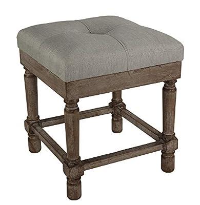 "Cortesi Home Kalmus Square Ottoman Stool, 19"" High, Beige Fabric"