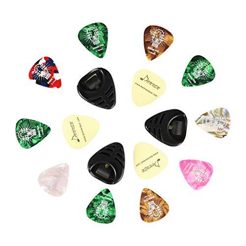 Donner Soporte para Púas 3 Piezas, Portapúas con goma para Guitarra incluye 10 Púas para Guitarra Acústica Guitarra Eléctrica Ukelele Bajo