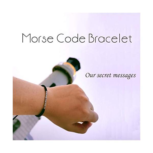 Shonyin Morse Code Bracelets Matching Adjustable Bracelet Set Funny Jewelry Unique Gift for Women Men Mother Daughter 3 Pcs