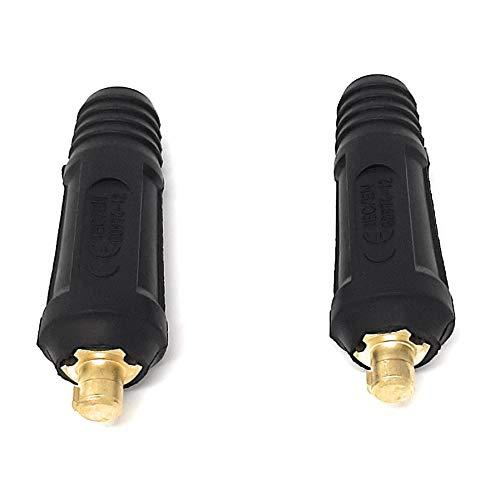 ELCAN Conector rápido aéreo macho 10-25mm para cable soldadura DKZ10-25 o DKJ10-25 200A utilizado en máquinas de soldadura y corte como conexiones de potencia (2 unidades)