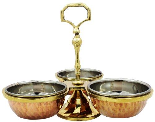 SKAVIJ Copper Steel Serving Pickle, Condiment Dish Rack 3-Bowls Set 6 Ounce