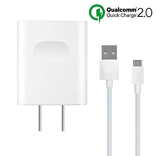 18W/9V2A Fast Wall Charger Adapter with Micro USB Cable Compatible LG G4 /LG G Flex 2 /LG V10 H968,Qualcomm Certified Quick Charge 2.0 Digital Adaptive Fast Charging uses dual voltages