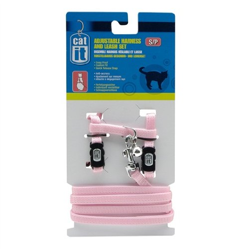 Catit Nylon Adjustable Cat Harness and Leash Set, Small, Pink