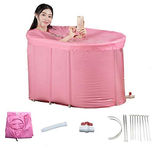 Roze Grote Plastic Badkuip voor Douche, Afvoergat, Roestvrij staalstandaard, PVC die het weken Bad met het Verdikken van Sponsbottom, Ideaal voor Volwassene, Jonge geitjes vouwen