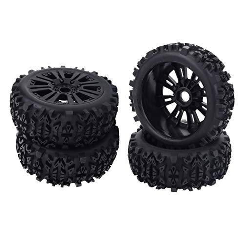 F Fityle 4 Piezas RC Goma RC Coche Llantas Neumáticos 1/10 Coche Ruedas Completas Ruedas Buggy Neumáticos