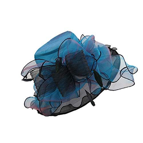 TWIFER Sonnenhut Damen Schirmmützen Breitem Rand Organza Hut Blumen Mesh Mode Krempe Hüte Sommer Zylinderhut Kirche Kentucky Derby Fascinator Braut Teeparty Hochzeits Hut