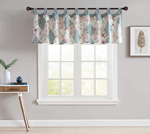 "Jolie Diamond Patchwork Floral Valance Tab Top Home Decoration Window Treatment, 84"" x 21"""