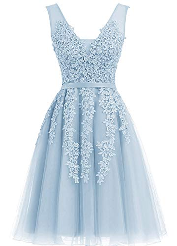Annadress Women's Sleeveless Homecoming Dresses Short Net Bridesmaid Dresses Appliques Evening Cocktail Gowns Light Blue 6
