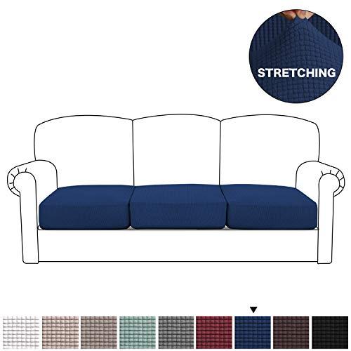 BellaHills Funda elástica de elastano para silla, sofá o sillón, poliéster, azul marino, 3 Seater Cushion