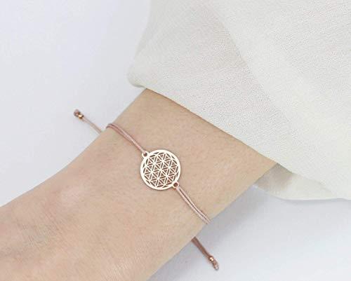 SCHOSCHON Damen Blume des Lebens Armband 925 Silber rosevergoldet - Nude // Geschenkideen Lebensblume Geschenk Konfirmation Mutter Schmuck personalisierbar