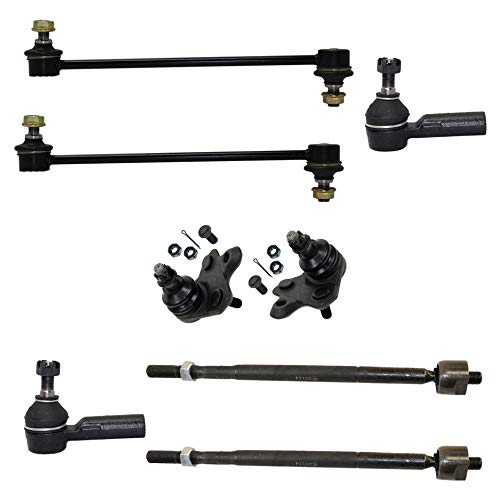 Detroit Axle - 8PC Front Suspension Lower Ball Joints, Front Sway Bars, Inner and Outer Tie Rod Ends for 2 Wheel Drive - 2003-2008 Pontiac Vibe/Toyota Matrix FWD 2WD ONLY