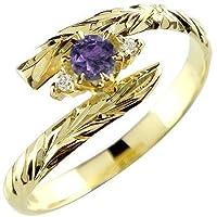 リング イエローゴールドk18 ピンキーリング 指輪 リング 18k 18金 手彫り 2月誕生石 ハワイアン ガーネット 5