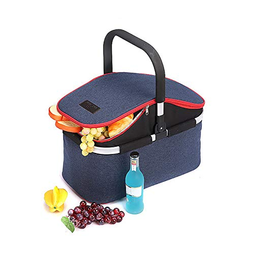 Foldable Insulated Picnic Basket with Lid 32L Extra Large Insulated Bag Comfortable Handle Easy Storage Compact Design for Barbeque Camping Picnic