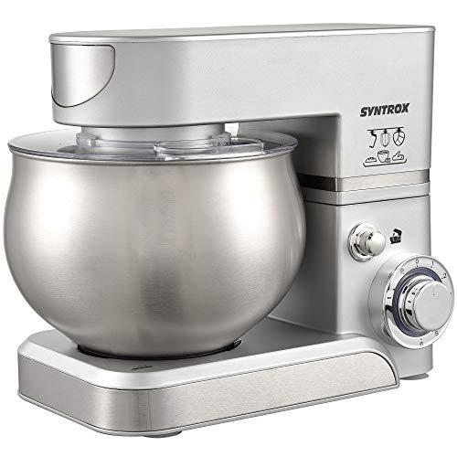 Syntrox Germany KM-5.0L Basic Silver Küchenmaschine Knetmaschine, Edelstahl-Behälter, 5 Liter, silber