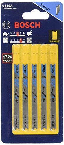 BOSCH U118A 5-Piece 3-1/8 In. 17-24P TPI Basic for Metal U-shank Jig Saw Blades , Blue