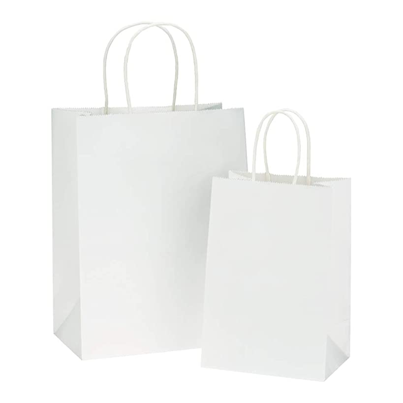 BagDream Kraft Paper Bags 5x3x8& 8x4.25x10, 50 Pcs Each, White Gift Bags, Kraft Bags, Party Bags, Paper Shopping Bags with Handles, Craft Bags, 100% Recyclable Paper Gfit Bags