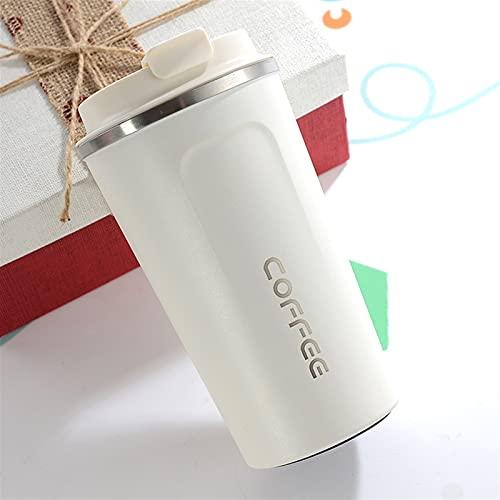 Doble Acero Inoxidable 304 Taza de café Taza Thermos Taza Fugas de Viaje Termo Termo THERMOSMUG para LOS Regalos (Capacity : 380ml, Color : W)